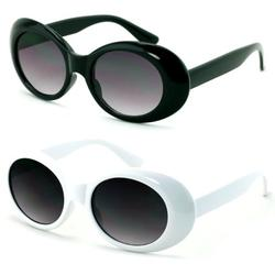 2 Pairs Vintage Sunglasses UV400 Bold Retro Oval Mod Thick Frame Sunglasses Clout Goggles with Black White Round Lens