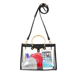 ToGoGo Women Medium Clear Satchel Bag Clear Stadium Approved Transparent Satchel / Crossbody with Ring Handle