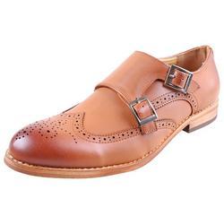 Urban Fox Allen Men's Dress Shoe Double Monk Strap Brogue Wingtip Shoes for Men Light Brown 11 M US