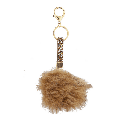 Lux Accessories Tan Cluster Stone and Brown Fur Pom Pom Keychain Bag Charm