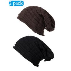2 Pack Winter Knit Beanie Hat Slouchy Beanie Cap Hat Soft Baggy Snow Hat Thick Stretchy Warm Ski Cap Stocking Hats for Women Girls