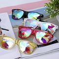 C.F.GOGGLE Fashion Steampunk Goggles Kaleidoscope Glasses Round Rave Festival Diffraction Sunglasses for Women Red Black White