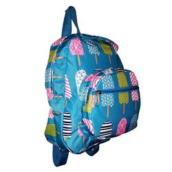 11-inch Mini Backpack Purse, Zipper Front Pockets Teen Child (Turquoise Ice Cream Print)