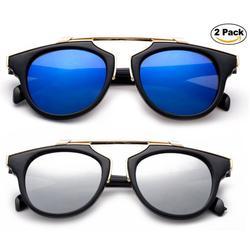 2 Pairs Newbee Fashion -Designer Inspired Kids Girls High Fashion Sunglasses Unique Design Metal Bridge Plastic Frame Girls Sunglasses Flash Mirrorrd Lens UV Protection Lead Free High Quality