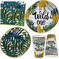 """Wild One Party Supplies Tableware Set 24 9"""" Plates 24 7"""" Plate 24 9 Oz. Cups 50 Lunch Napkins for Jungle Safari Forest Animal Adventure Baby Shower First Birthday Theme Disposable Paper Dinnerware"""