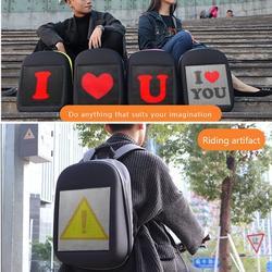 LED Dynamic Backpack Advertising Bag Computer Backpacks for Women Men Leisure Travel Backpack (Grey)