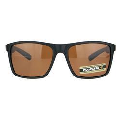 Polarized Mens Wood Grain Arm Sport Horned Rim Sunglasses Brown Lens