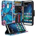 LG Risio 3 Case,LG Rebel 3 LTE Case (L157BL), LG Fortune 2 Case, LG Zone 4 Case, LG K8 2018 Case, Cute Wrist Strap Flip Folio [Kickstand] Pu Leather Case ID Slot Girls Women - Blue Butterfly
