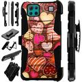 Compatible with LG K92 Hybrid LuxGuard Holster Phone Case Cover (Chocolate Hearts)