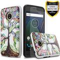 Moto E4 Plus Case, 2-Piece Style Hybrid Shockproof Hard Phone Cover with [Premium Screen Protector] Hybird Shockproof And Circlemalls Stylus Pen For Motorola Moto E4 Plus (Luck Tree)