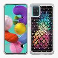 """FINCIBO Hybrid Bling Sparkle Cover Case for Samsung Galaxy A51 A515 6.5"""" 2019 (NOT FIT Samsung Galaxy A51 5G 6.7"""" 2020), Colorful Pineapple Galaxy Background"""