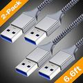 powermanusb3.0-usb to usb cable-superspeed a to a male to male cable[2pack,6.6ft]double end usb cable wireusb3.0 double sided usb cordcharger 2 sided usb cables cord charging m/m for usb c