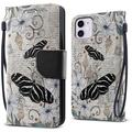 """FINCIBO Kickstand Magnetic + Flap Wallet Pouch Cover Case for Apple iPhone 12 / 12 Pro 6.1"""" 2020 (NOT FIT Apple iPhone 12 Pro Max 6.7"""" 2020/iPhone 12 mini 5.4"""" 2020), Vintage Zebra Butterfly"""