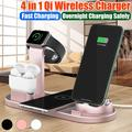 3 IN 1 Fast Charging Stand, Fast Wireless Charging Dock Station, 4 in 1 Wireless Charging Station for iPhone,Watch,Pods,Androids,Charger Stand for Multiple Devices