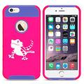 For Apple iPhone (6 Plus) (6s Plus) Shockproof Impact Hard Soft Case Cover Bearded Dragon Lizard (Hot Pink-Blue)