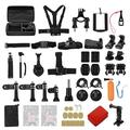 50-in-1 Action Camera Accessories Kit Including Grip Helmet Belt Chest Strap Head Strap Wrist Straps Bicycle Bar Mount Set Flexible Tripod Handheld Monopod Phone Holder Floaty Stickers etc for GoPro