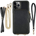iPhone 11 Pro Max Wallet Case, ZVE iPhone 11 Pro Max Case with Credit Card Holder Slot Crossbody Chain Handbag Purse Wrist Zipper Leather Case Cover for Apple iPhone 11 Pro Max 6.5 inch 20