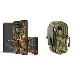 INFUZE Slim Pocket 12000mAh Portable Charger Dual (USB-A, USB-C) 18W QC 3.0 Power Bank (Deer Hunter Camo), Tactical Organizer Pouch (ACU Pixel Camo) for LG G8 ThinQ, LG V50, LG Stylo 4+ Plus