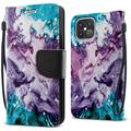 """FINCIBO Kickstand Card Holder Magnetic + Flap Wallet Pouch Cover Case for Apple iPhone 12 Pro Max 6.7"""" 2020 (NOT FIT Apple iPhone 12/12 Pro 6.1"""" 2020/iPhone 12 mini 5.4"""" 2020), Purple Mixed Oil Paint"""