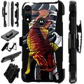 WORLD ACC LuxGuard Holster Case Compatible with Motorola Moto E 2020 Hybrid Phone Cover (Red Koi Fish)