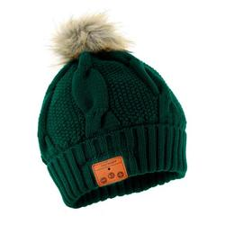 Tenergy Wireless Bluetooth Beanie Hat with Detachable Stereo Speakers & Microphone, Fleece-Lined Faux Fur Pom Pom Music Beanie for Women Outdoor Sports (Dark Green)
