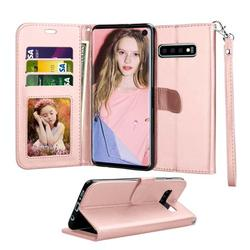 Tekcoo Galaxy S10 / S10 Plus / S10E Wallet Case, for Galaxy S10 / S10+ / S10e Case, Tekcoo [Rose Gold] PU Leather [3 Card Slots] ID Credit Flip Cover [Kickstand] Cover & Wrist Strap