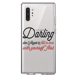 """DistinctInk Clear Shockproof Hybrid Case for Galaxy Note 10 PLUS (6.8"""" Screen) - TPU Bumper Acrylic Back Tempered Glass Screen Protector - Darling Don't Forget to Fall In Love with Yourself"""