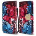 ZTE ZFive G LTE Z557BL Case - Synthetic PU Leather Wallet Holder Pouch Case [Card Slots Bill Fold] with Magnetic Flip Closure Cover - [Butterfly Symphony] and Atom Cloth