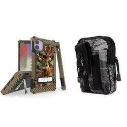 BC Tri Shield Series Military Grade (MIL-STD 810G-516.6) Impact Resistant Stand Case (Deer Camo) with Tactical Organizer Travel Pouch (Python Camo) and Atom Cloth Compatible with Apple iPhone 11