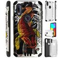 Compatible with Cricket Lumos Alcatel AXEL Brushed Metal Texture Hybrid Silver Guard Phone Case Cover (Red Koi Fish)