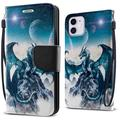 """FINCIBO Kickstand Card Holder Magnetic + Flap Wallet Pouch Cover Case for Apple iPhone 12 mini 5.4"""" 2020 (NOT FIT Apple iPhone 12/12 Pro 6.1""""/iPhone 12 Pro Max 6.7"""" 2020), Blue Ice Dragon"""