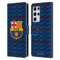 Head Case Designs Officially Licensed FC Barcelona Crest Patterns Barca Leather Book Wallet Case Cover Compatible with Samsung Samsung Galaxy S21 Ultra 5G