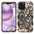 For Apple iPhone 12 Pro Max (6.7 in) Case, by Insten Tuff Phoenix Flower Dual Layer [Shock Absorbing] Hybrid Hard Plastic/Soft TPU Rubber Case Cover compatible w/ Apple iPhone 12 Pro Max, Black