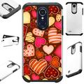 Compatible with LG Rebel 4 LG Rebel 3 Hybrid Fusion Guard Phone Case Cover (Chocolate Hearts)