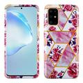 For Samsung Galaxy S20 PLUS Case, by Insten Tuff Marble Dual Layer [Shock Absorbing] Hybrid Hard Plastic/Soft TPU Rubber Case Cover Compatible with Samsung Galaxy S20 PLUS, Pink