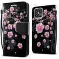 """FINCIBO Kickstand Card Holder Magnetic + Flap Wallet Pouch Cover Case for Apple iPhone 12 Pro Max 6.7"""" 2020 (NOT FIT Apple iPhone 12/12 Pro 6.1"""" 2020/iPhone 12 mini 5.4"""" 2020), Falling Pink Flower"""