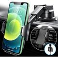 �2021 Upgraded】VANMASS Car Phone Mount, Patent & Safety Certs, Fingerprint Clamps/ Air Capsule Pad/ Hook Vent Clip, for Car Dash Windshield Vent, Compatible with iPhone 12 11 Pro Max SE Galaxy S21 etc
