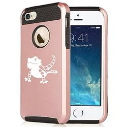 For Apple iPhone (6 Plus) (6s Plus) Shockproof Impact Hard Soft Case Cover Bearded Dragon Lizard (Rose Gold-Black)