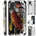 Compatible with Coolpad Suva Brushed Metal Texture Hybrid Silver Guard Phone Case Cover (Red Koi Fish)