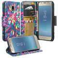 [GW USA] Leather Wallet Case Compatible for Samsung Galaxy J3 Orbit Case/J3 Star Case/J3 (2018)/J3 Achieve/Express Prime 3/Amp Prime 3 Case [Kickstand] Cute Girl Women Phone Case - Rainbow F
