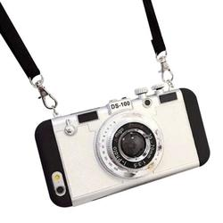 3D Phone Case Vintage Camera Design Silicone Cover with Long Strap Rope