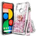 Samsung Galaxy A02S Phone Case with Tempered Glass Screen Protector (Full Coverage), Nagebee Glitter Flowing Liquid Quicksand Shiny Bling [Metal Diamond Ring Kickstand] with Lanyard Strap (Rose Gold)