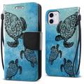 """FINCIBO Kickstand Card Holder Magnetic + Flap Wallet Pouch Cover Case for Apple iPhone 12 / 12 Pro 6.1"""" 2020 (NOT FIT Apple iPhone 12 Pro Max 6.7"""" 2020/iPhone 12 mini 5.4"""" 2020), Ocean Sea Turtle"""