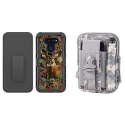 Bemz Armor Holster LG Harmony 4 (Cricket) Phone Case Bundle: Heavy Duty Rugged Protector Belt Clip Cover with 600D Waterproof Nylon Material Tactical Pouch - (Deer Camo/ACU Pixel Camo)