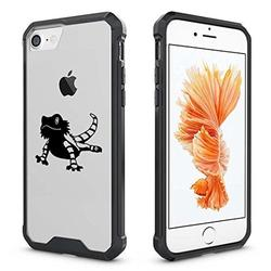 For Apple iPhone Clear Shockproof Bumper Case Hard Cover Bearded Dragon Lizard (Black For iPhone 6 / 6s)