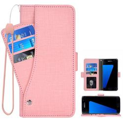 Compatible with Samsung Galaxy S7 Wallet Case Wrist Strap Leather Flip Cover Card Holder Stand Phone Cases Cell for Glaxay S7 Women Men - Pink