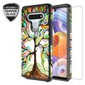 LG Stylo 6/LG Stylo 6 Plus Case Cover w/[ Temper Glass Screen Protector] Silicone Shock Proof Dual Layer Cute Girls Women Case Cover for LG Stylo 6/Stylo 6 Plus - Colorful Tree