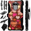 Compatible with LG K31 Rebel Hybrid LuxGuard Holster Phone Case Cover (Chocolate Hearts)