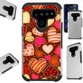 WORLD ACC Fusion Phone Case Compatible with LG K51 LG Reflect Hybrid TPU Cover (Chocolate Hearts)