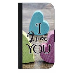I Love You - Wood Print Hearts - Galaxy s10p Case - Galaxy s10 Plus Case - Galaxy s10 Plus Wallet Case - s10 Plus Case Wallet - Galaxy s10 Plus Case Wallet - s10 Plus Case Flip Cover